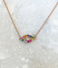 Andi Alyse Rose Gold Rainbow Sapphires and Diamond Evil Eye Necklace