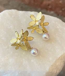 John Iversen 3 Part Yellow Gold and Pearl Hydrangea Post Earrings