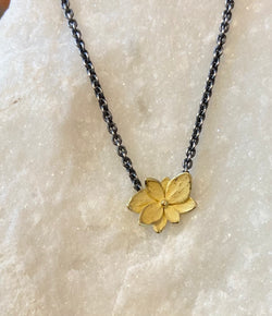 John Iversen Baby Hydrangea Yellow Gold Twin Necklace