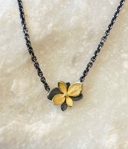 John Iversen Baby Hydrangea Mixed Metal Twin Necklace