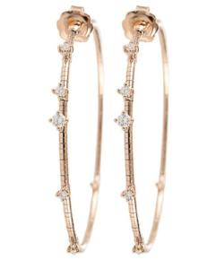 Mattia Cielo Medium Rugiada Rose Gold & Diamond Hoop Earrings