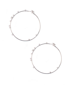 Mattia Cielo Large Rugiada White Gold & Diamond Hoop Earrings