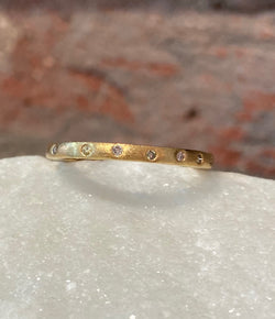Sethi Couture Brushed Yellow Gold & Diamond Band
