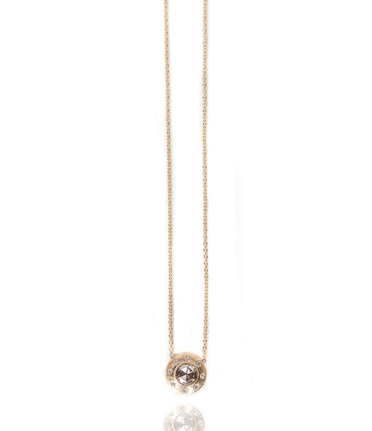 Sethi Couture Brushed Yellow Gold Necklace with Diamond Center Stone