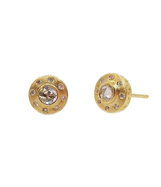 Sethi Couture Yellow Gold Stud Earrings with Diamond Center Stone