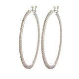 Sethi Couture White Gold Micro Prong Large Diamond Hoops