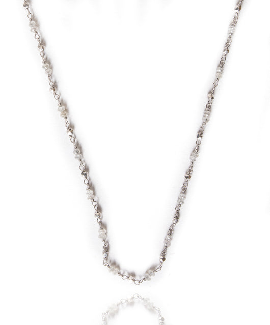 Sethi Couture Gray Diamond Wire Wrap Chain Necklace