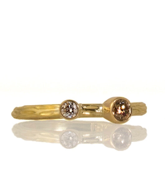 Sarah Graham Cognac and White Diamond Yellow Gold 'Pebble' Stacking Ring