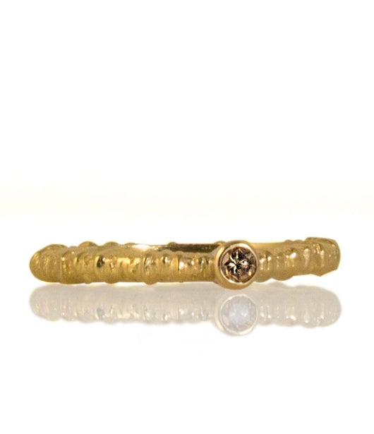 Sarah Graham Cognac Diamond and Yellow Gold 'Aspen' Stacking Ring