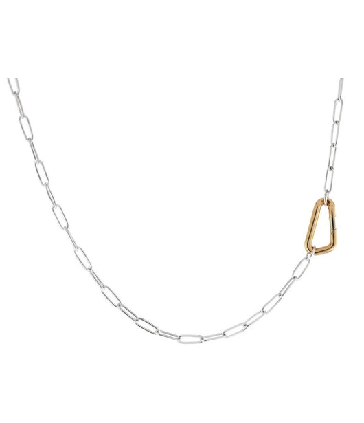 Heather Moore Silver Link Chain with Yellow Gold Carabiner Hinge 31