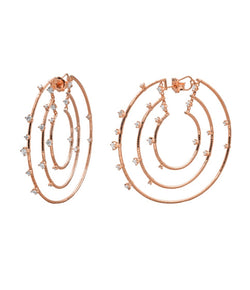 Mattia Cielo 3 Row Rose Gold & Diamond Hoop Earrings