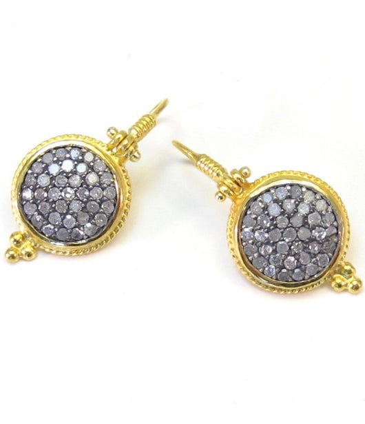 Ara Pave Diamond and 24kt Gold Round Wire Earrings