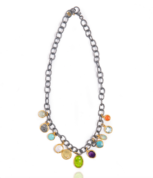 Ara Multi-Charm and 24kt Gold Necklace