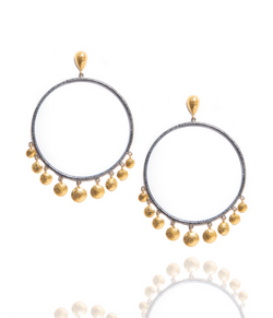 Ara Circle Earrings with 24kt Gold Disc Accents