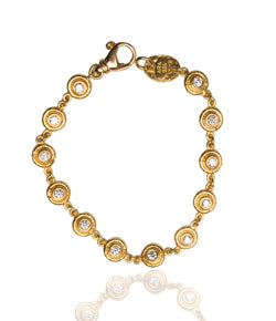 Ara 24kt Gold Small Circle Bracelet with White Diamonds
