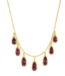 Ara 24K Ruby Drop Necklace