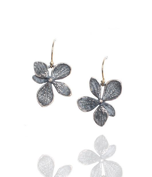 John Iversen Oxidized Sterling Silver Hydrangea Single Drop Earrings