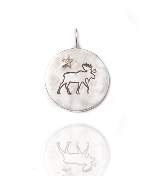 Heather Moore Moose and Star Sterling Silver Round Charm