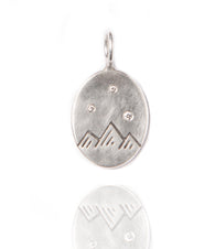 Heather Moore Mountain Stamp and Diamond Sterling Silver Oval Charm