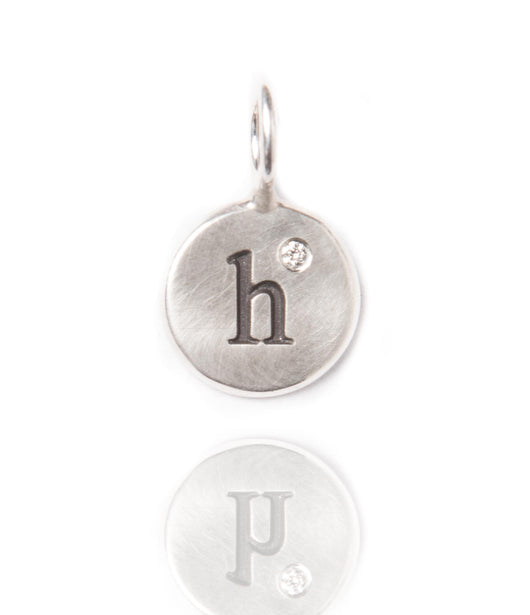 Heather Moore Silver 'H' Charm with Diamond