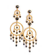 Ara Black Diamond and 24K Gold Chandelier Earrings