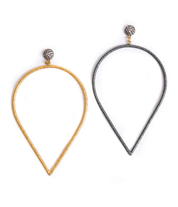 Ara 24K Gold and Oxidized Silver Pear Dangle Earrings