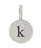 "Heather Moore Silver ""K"" Charm with Single Diamond"