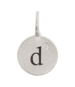 Heather Moore Silver 'D' Charm with Diamond