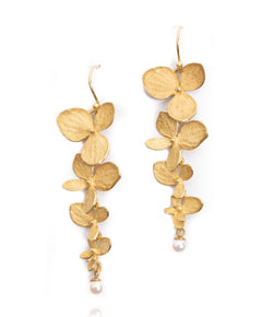 John Iversen 4 Part 18kt Gold Hydrangea Drop Earrings with Akoya Pearl