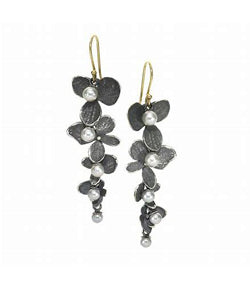 John Iversen Silver Hydrangea Dangle Earrings