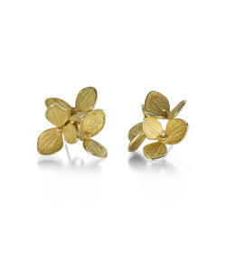 John Iversen 3 Part Yellow Gold Hydrangea Cluster Earrings