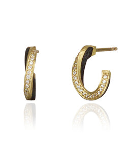 Sarah Graham Eclipse Yellow Gold and Cobalt Chrome Hoop Earrings