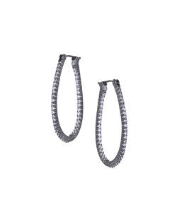 Sethi Couture White Gold and Diamond Oval Micro Hoop Earrings