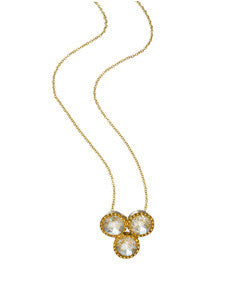 Sethi Couture Three Stone Diamond and Yellow Gold Necklace