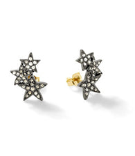 SheBee Diamond Star Climber Earrings