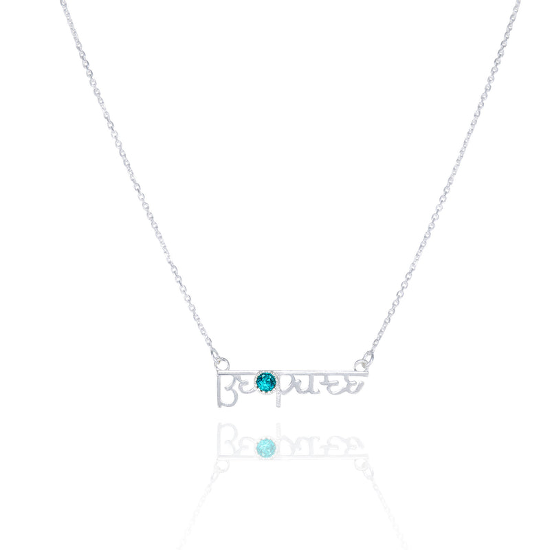 BE PURE - Mantra Necklace with light blue Swarovski® Crystal