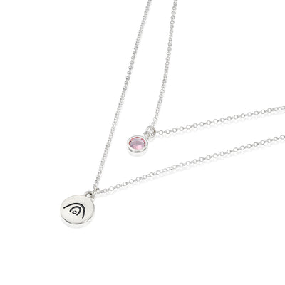 BE CREATIVE - Double Chain Sterling Silver Necklace with Swarovski® Crystal