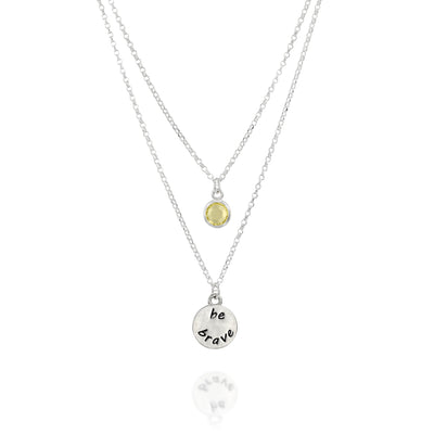 BE BRAVE - Double Chain Sterling Silver Necklace with Swarovski® Crystal