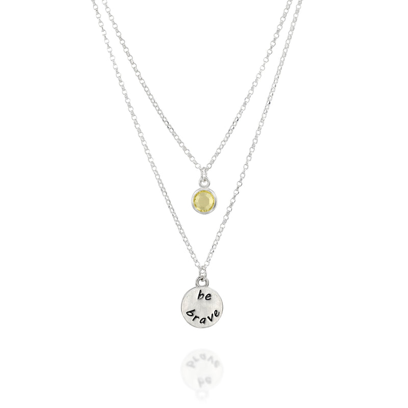 BE BRAVE - Double Chain Sterling Silver Necklace with yellowCrystal