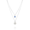 BE FREE - Double Chain Sterling Silver Necklace with Swarovski® Crystal