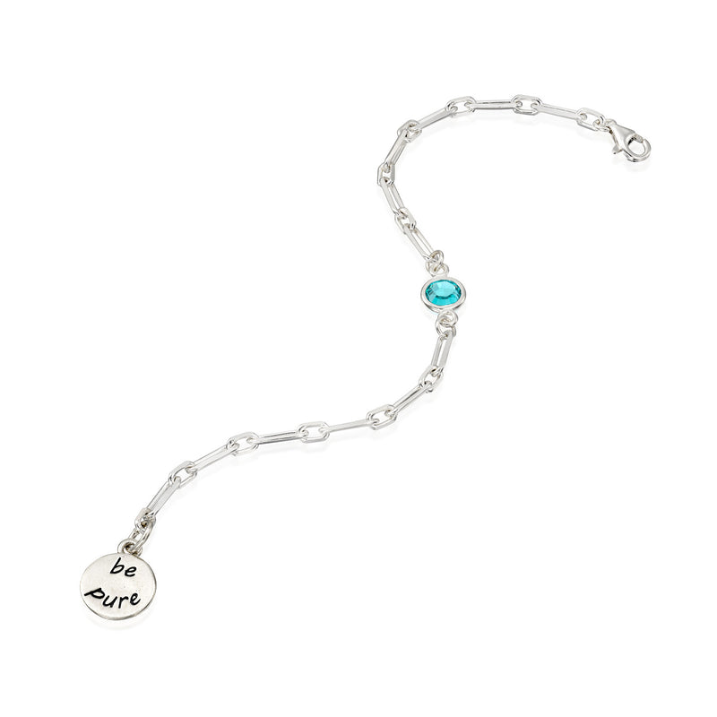 BE PURE  - Sterling Silver Bold Link Bracelet with Swarovski® Crystal