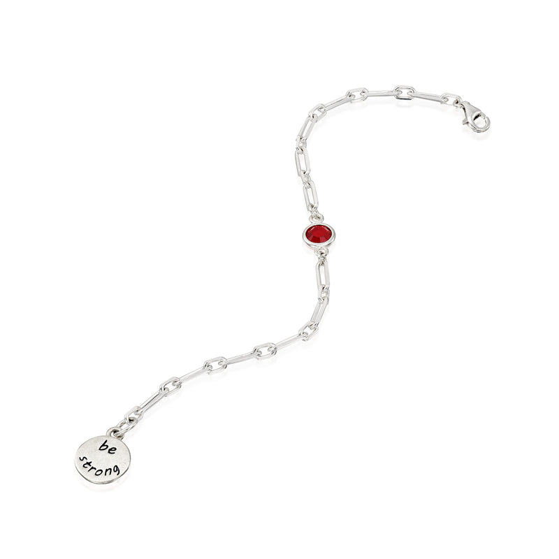 BE STRONG - Sterling Silver Bold Link Bracelet with red Crystal