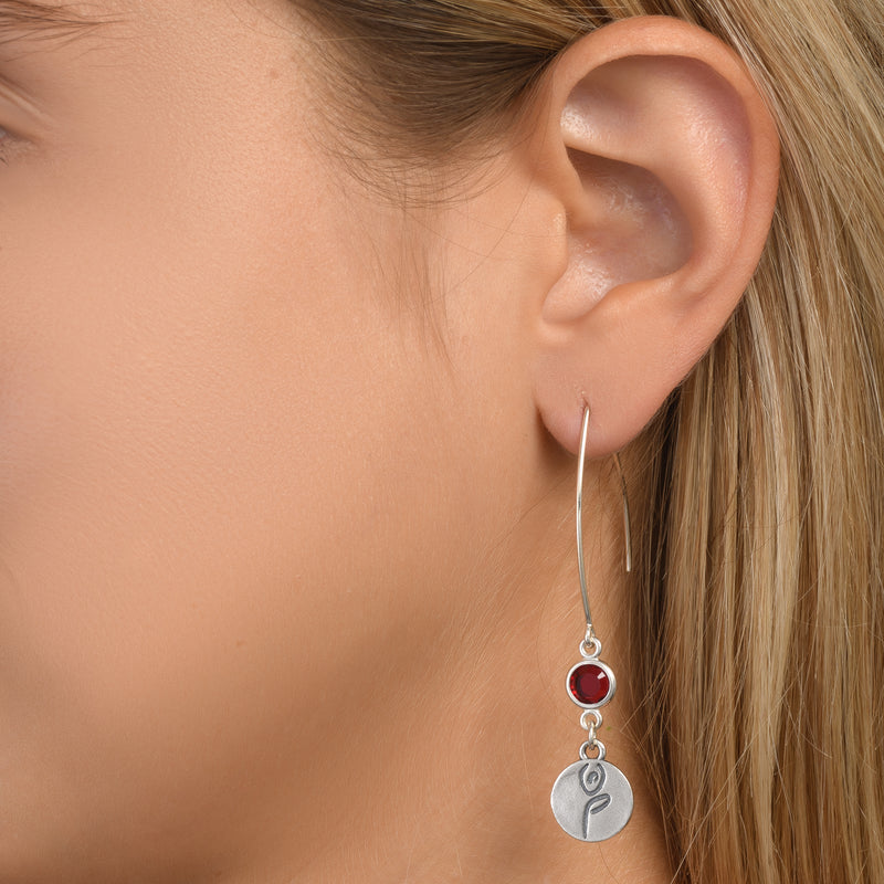 BE STRONG -  Sterling Silver Earrings with red Crystal