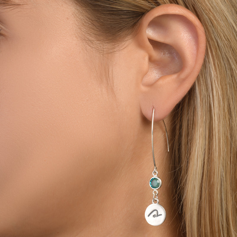 BE PURE -  Sterling Silver Earrings with light blue Crystal