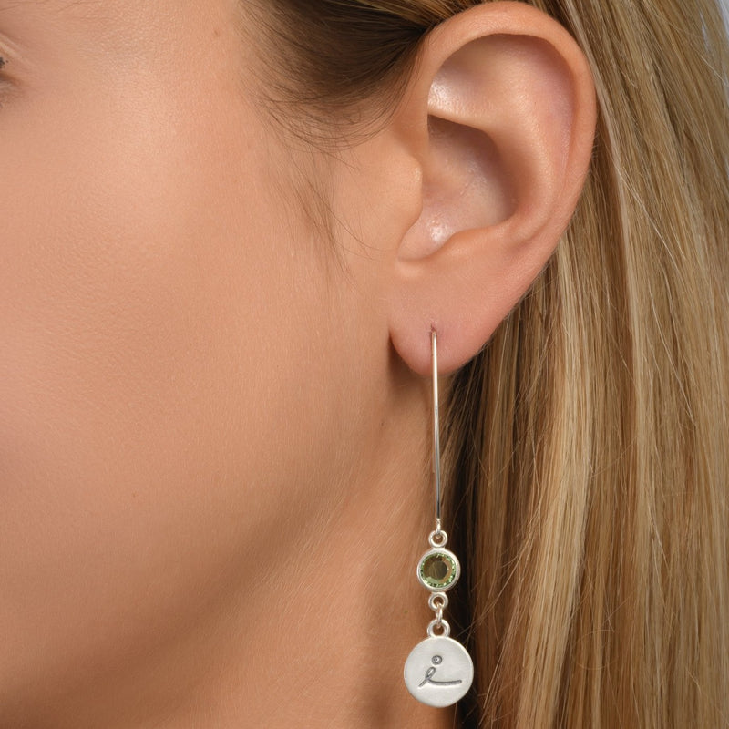 BE LOVE -  Sterling Silver Earrings with green Crystal