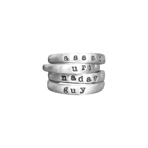 Four Silver Name Rings