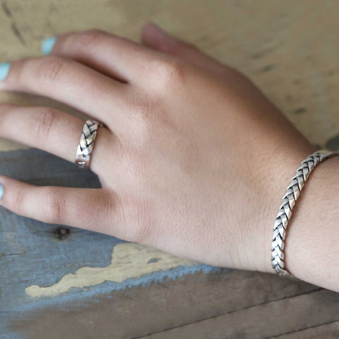 Hand Made Braided Silver Cuff
