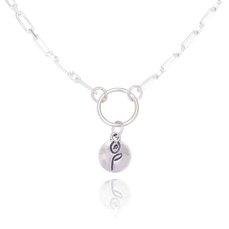 Yoga Pose & Mantra Sterling Silver Bold Link Necklace