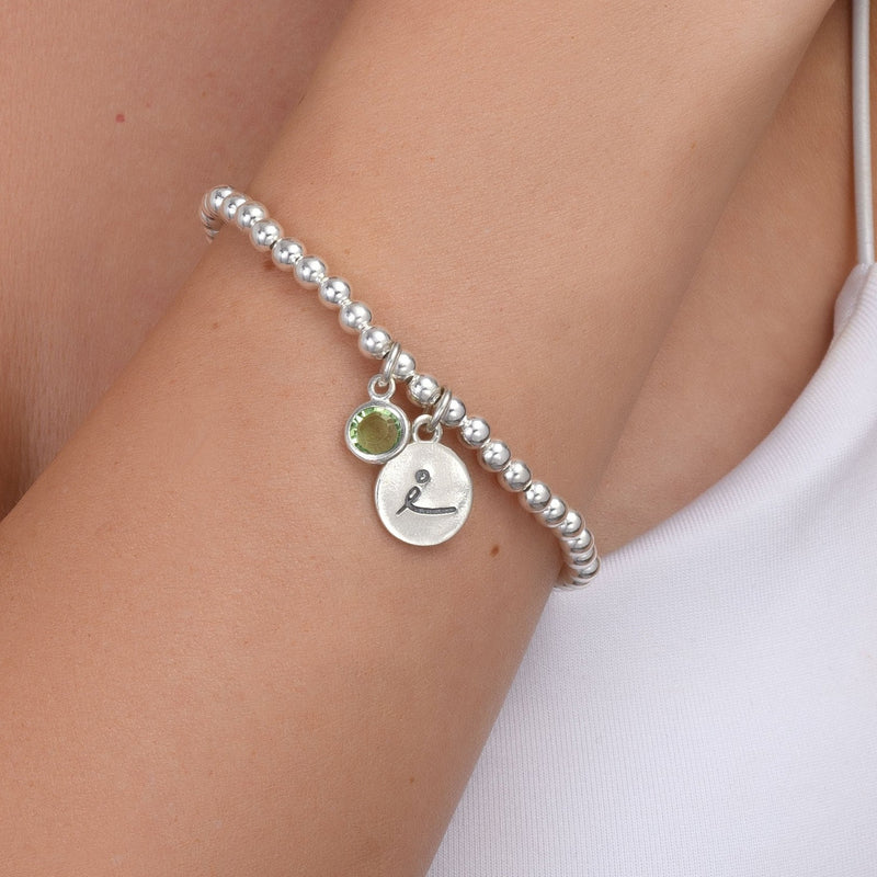 BE LOVE - Sterling Silver Beads Bracelet with green Crystal