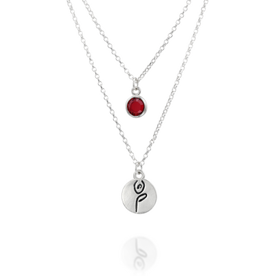 BE STRONG -  Double Chain Sterling Silver Necklace with Swarovski® Crystal